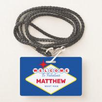 Las Vegas Sign VIP Pass Bachelor Party Invitation Badge