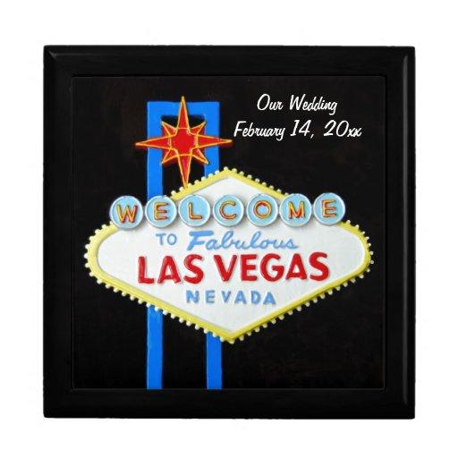 Las Vegas Sign Wedding Date Trinket Box