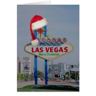 Las Vegas Sign with Santa Cap Merry Christmas Card