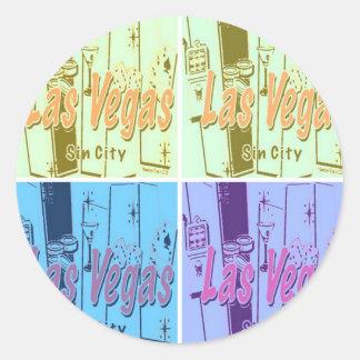 Las Vegas Sin City Pegatina Redonda