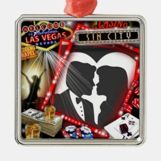 Las Vegas Sin City que casa diseño Adorno Cuadrado Plateado