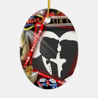 Las Vegas Sin City wedding Design Ceramic Ornament