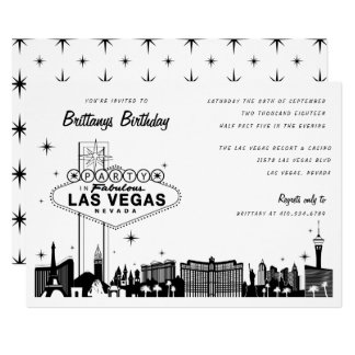 Las Vegas Skyline Birthday Party or Special Event Card