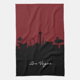 Las Vegas Skyline | Dark Red Hand Towel