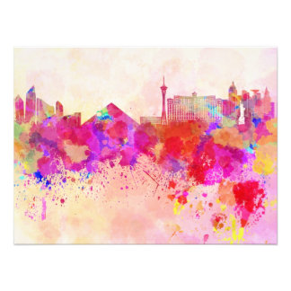Las Vegas skyline in watercolor background Photographic Print