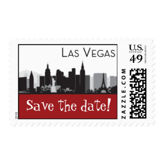 Las Vegas Skyline Stamp -  Save the Date - Red