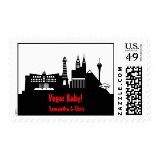 Las Vegas Skyline Sticker Postage Stamp
