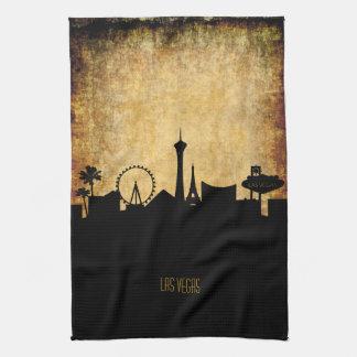 Las Vegas  Skyline   Vintage Grunge Style Kitchen Towel