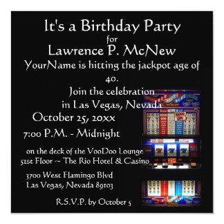 "Las Vegas  Slot Machine Birthday Party 5.25"" Square Invitation Card"