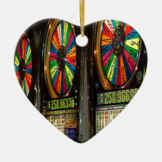 Las Vegas Slot Machines Double-Sided Heart Ceramic Christmas Ornament