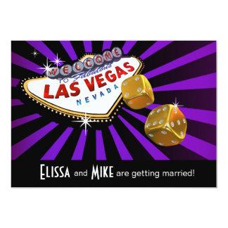 Las Vegas Starburst que casa el oro negro púrpura Invitación 12,7 X 17,8 Cm