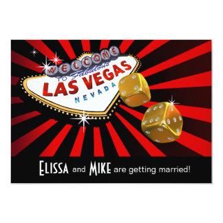 Las Vegas Starburst que casa el oro negro rojo Invitación 12,7 X 17,8 Cm