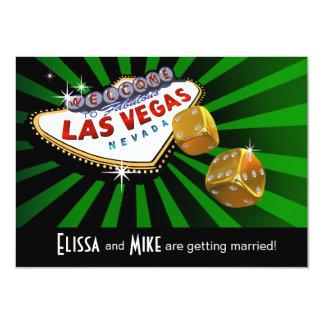 Las Vegas Starburst que casa el oro negro verde Invitación 11,4 X 15,8 Cm