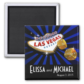 Las Vegas Starburst Wedding Favor blue black 2 Inch Square Magnet