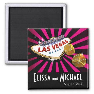 Las Vegas Starburst Wedding Favor fuschia black 2 Inch Square Magnet