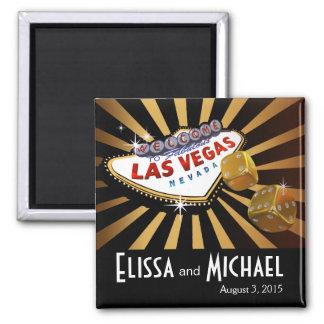 Las Vegas Starburst Wedding Favor gold black 2 Inch Square Magnet