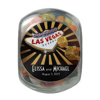Las Vegas Starburst Wedding Favor gold black Jelly Belly Candy Jar