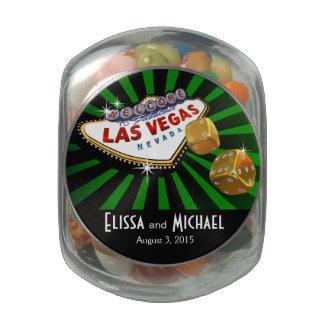 Las Vegas Starburst Wedding Favor green black gold Jelly Belly Candy Jar