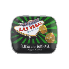 Las Vegas Starburst Wedding Favor green black gold Candy Tin at Zazzle