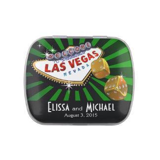 Las Vegas Starburst Wedding Favor green black gold Jelly Belly Candy Tins
