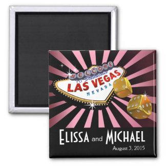Las Vegas Starburst Wedding Favor pink black gold 2 Inch Square Magnet