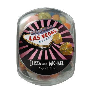 Las Vegas Starburst Wedding Favor pink gold black Jelly Belly Candy Jar