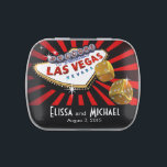 """Las Vegas Starburst Wedding Favor red black gold Candy Tin<br><div class=""""desc"""">This fun """"Las Vegas Starburst"""" candy tin is the perfect favor for Vegas destination weddings & casino-themed events.  For questions or requests,  email: glamprettyweddings.com/contact.  Design by Cheryl Daniels © 2013.  Matching wedding invitations,  reception invites,  save the dates,  magnet favors,  postage stamps and more available.</div>"""