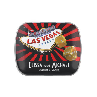 Las Vegas Starburst Wedding Favor red black gold Candy Tin