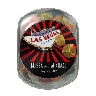 Las Vegas Starburst Wedding Favor red black gold Glass Candy Jars