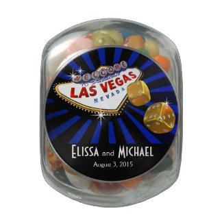 Las Vegas Starburst Wedding Favor royal blue black Jelly Belly Candy Jars