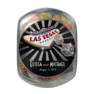 Las Vegas Starburst Wedding Favor silver black Jelly Belly Candy Jars