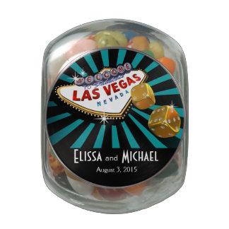 Las Vegas Starburst Wedding Favor teal black gold Jelly Belly Candy Jar