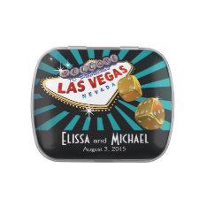 Las Vegas Starburst Wedding Favor teal black gold Candy Tins at Zazzle