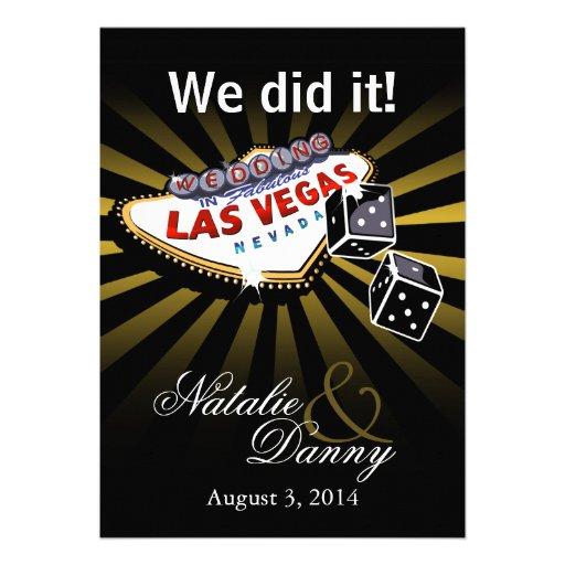 Las Vegas Starburst Wedding Reception gold black Announcement