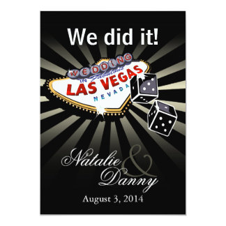 Las Vegas Starburst Wedding Reception silver black Custom Announcement