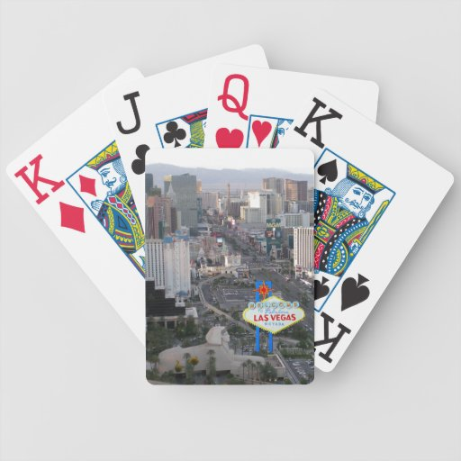 Las Vegas Strip Daytime Aerial Photo with Welcome Playing Cards