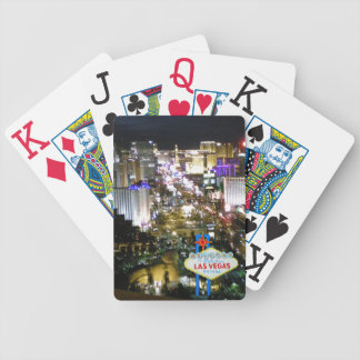 Las Vegas Strip Night View with Welcome Sign Bicycle Playing Cards