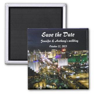 Las Vegas Strip Photo Wedding Date Plans 2 Inch Square Magnet