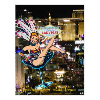 Las Vegas Strip, Showgirl, and Welcome Sign Postcard