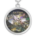 Las Vegas Strip View Round Pendant Necklace