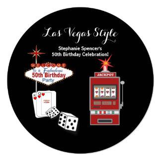 Las Vegas Style Black 50th Birthday Invitation