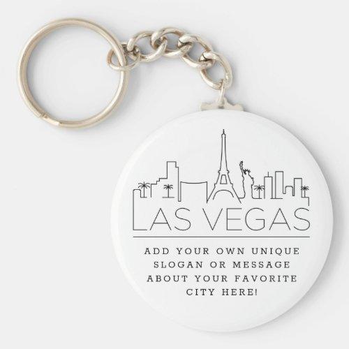 Las Vegas Stylized Skyline  Custom Slogan Keychain