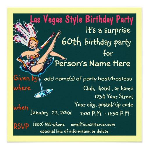 Las Vegas Theme 60th Birthday Party 5.25x5.25 Square Paper Invitation Card