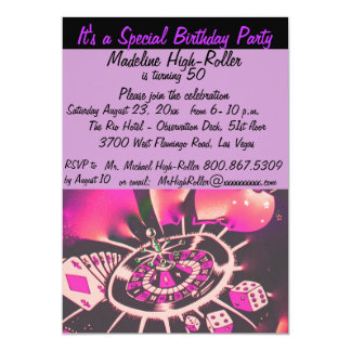 Las Vegas Theme Birthday Party Card