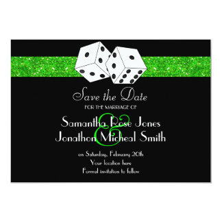 Las Vegas Theme Save the Date Green Faux Glitter Card