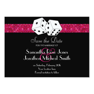 Las Vegas Theme Save the Date Pink Faux Glitter Card