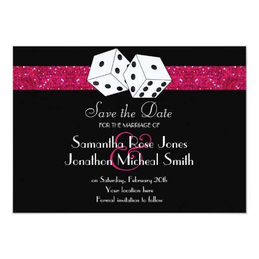 Las Vegas Theme Save the Date Pink Faux Glitter Personalized Announcement