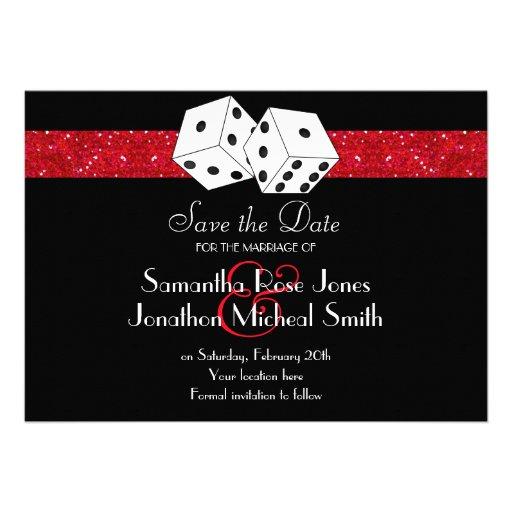 Las Vegas Theme Save the Date Red Faux Glitter Custom Invitations