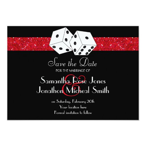 Las Vegas Theme Save the Date Red Faux Glitter 5x7 Paper Invitation Card