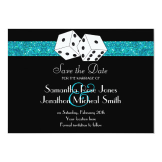Las Vegas Theme Save the Date Teal Faux Glitter Card